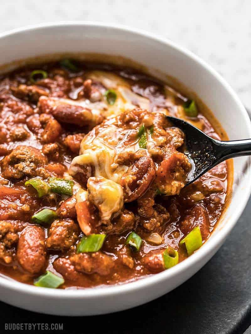 A spoonful of super flavorful small-batch Rice Cooker Chili.