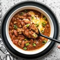 Bowl of super easy small-batch Rice Cooker Chili