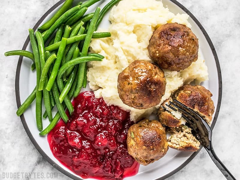 Turkey and Stuffing Meatballs served as a main dish with mashed potatoes