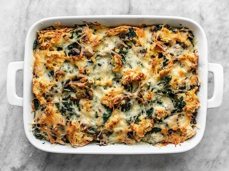 Baked Kale Swill and Mushroom Strata