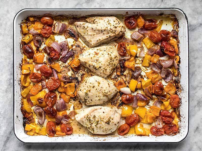Baked Sheet Pan Greek Chicken and Vegetables