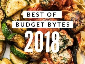 Best of Budget Bytes 2018 with close up of food in background