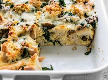 Cross-section of baked Kale Swiss and Mushroom Strata
