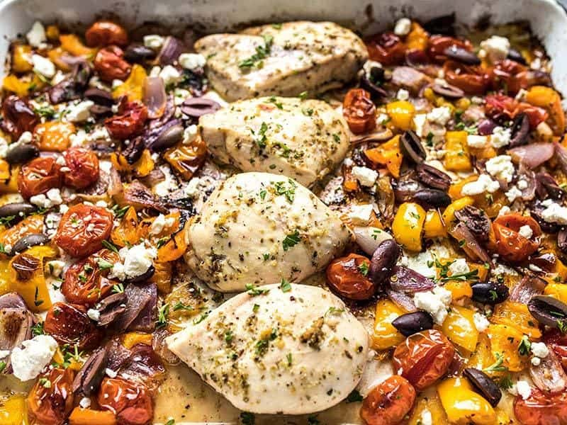 Front view of Sheet pan Greek Chicken and Vegetables