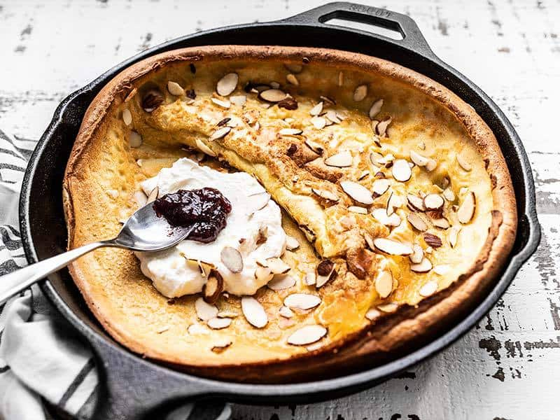 Spread Ricotta on Almond Dutch Baby