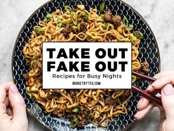 Take Out Fake Out title over a photo of Pork and Peanut Dragon Noodles