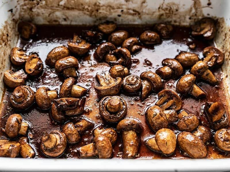 Finished Balsamic Roasted Mushrooms