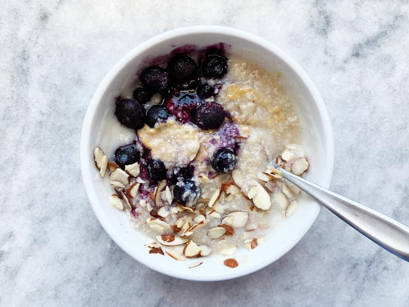 Oat Bran with Blueberries Almonds and Peanut Butter