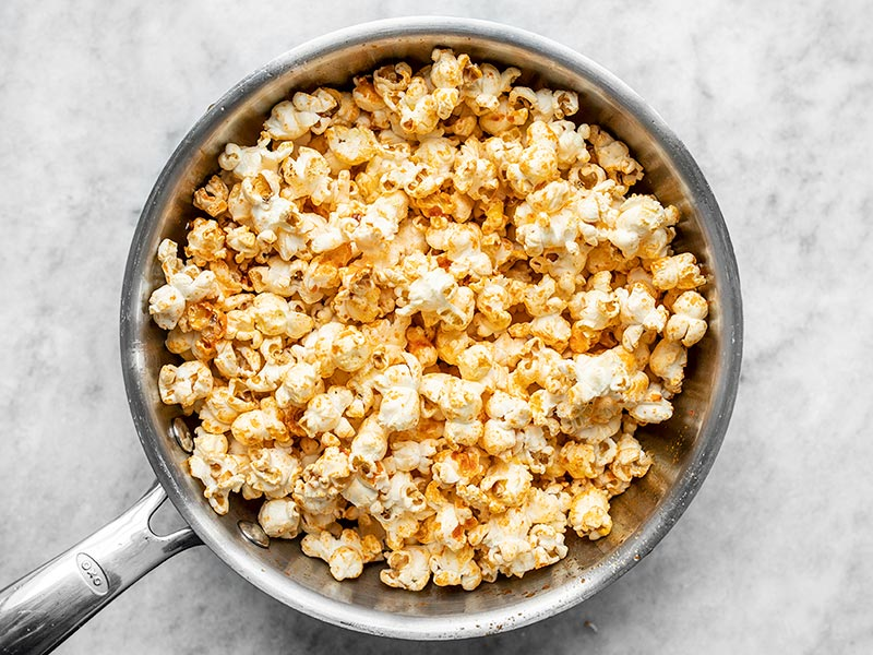 Popcorn Coated with Sriracha Butter