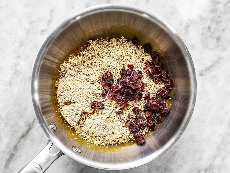 Rinsed Quinoa and Dried Cranberries in Pot
