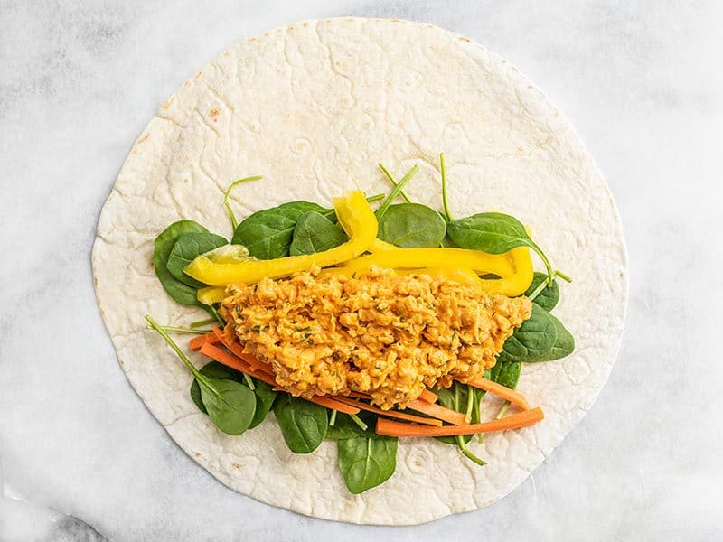 Sriracha Chickpea Salad on the Wrap