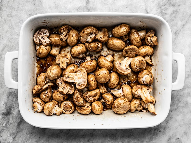 Stir Mushrooms to Coat in Marinade