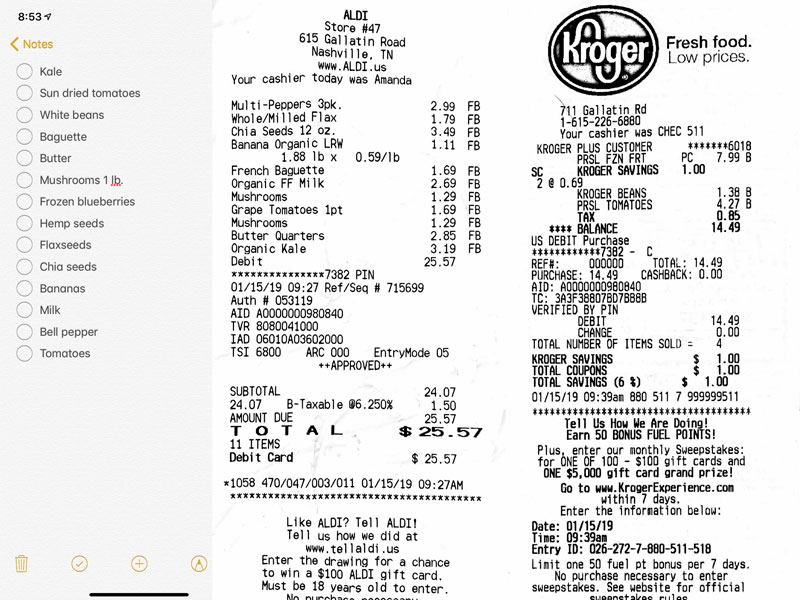Week 3 Grocery List and Receipts