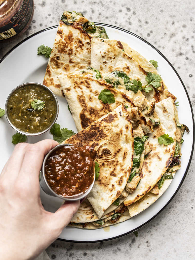 Creamy Chicken and Spinach Quesadillas