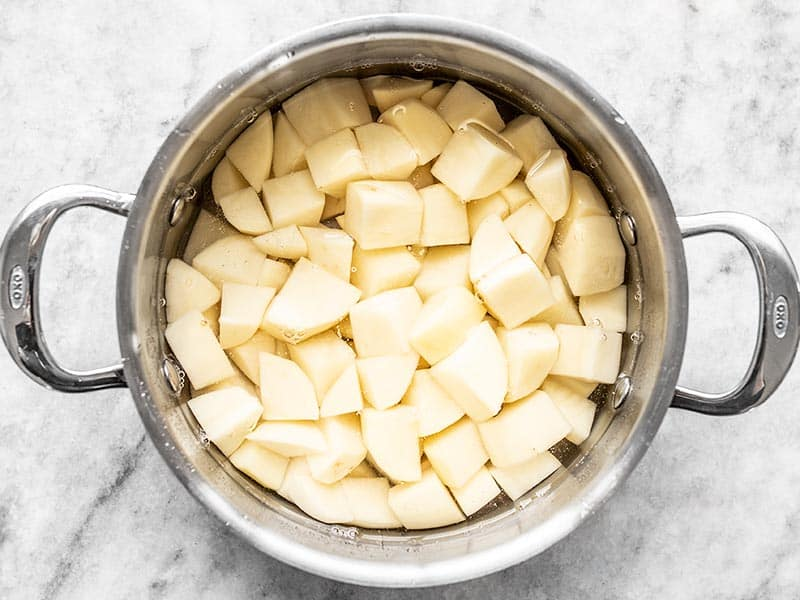 Cubed Potatoes in a Pot of Water