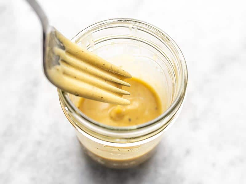 Finished Creamy Dijon Dressing in a jar