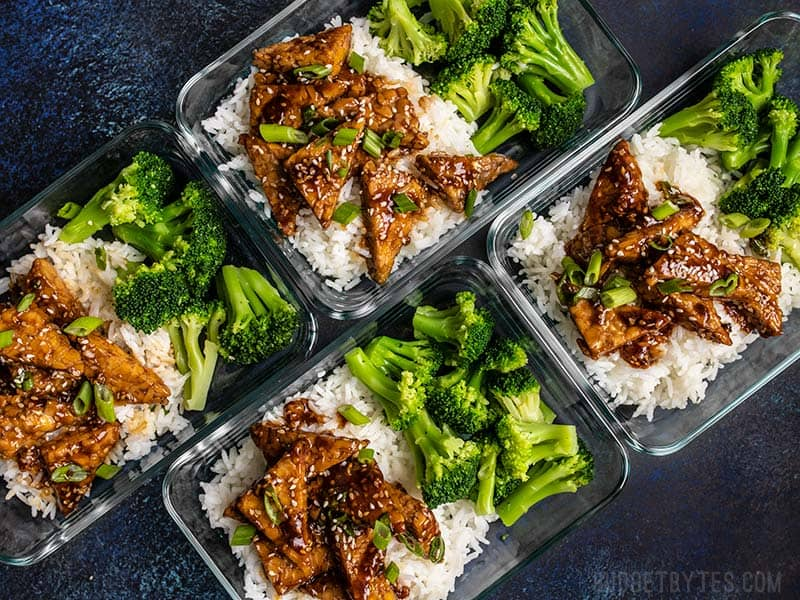 Sesame Tempeh Bowls in meal prep containers