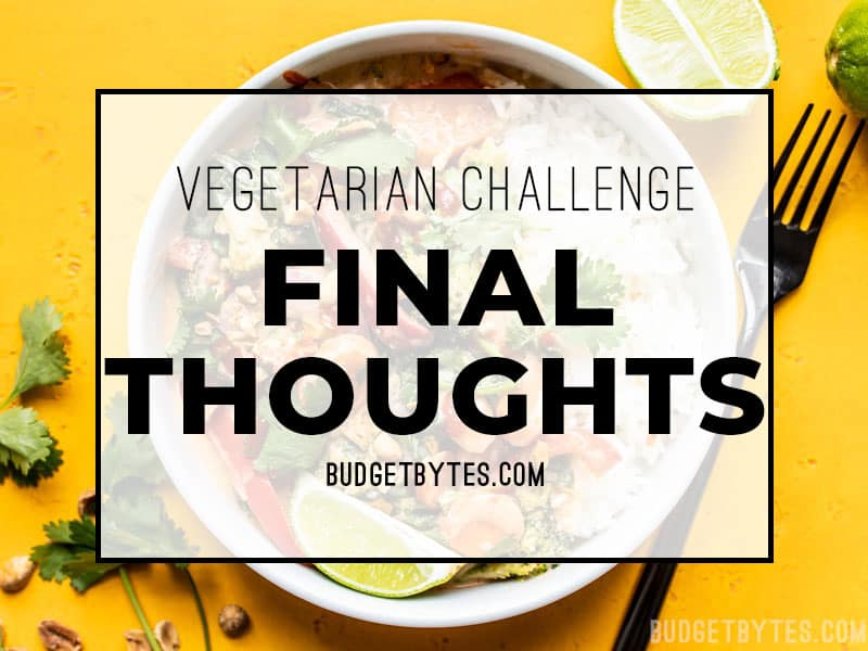 Vegetarian Challenge Final Thoughts