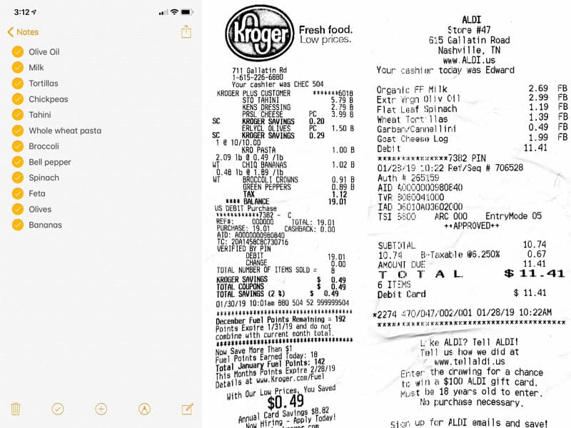 Week 5 Grocery List and Receipts