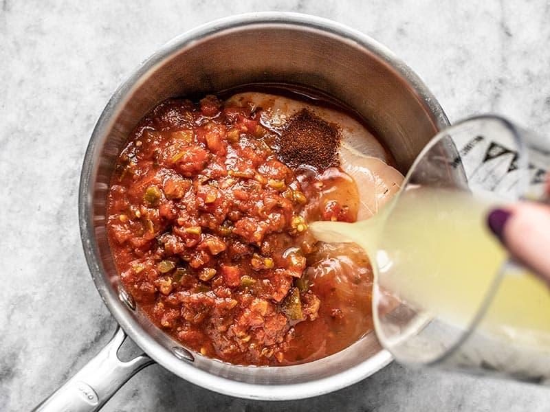 Add Chili Powder and Chicken Broth to Sauce Pot