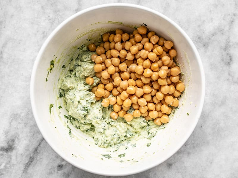 Add Drained Chickpeas to Scallion Herb Avocado Dressing