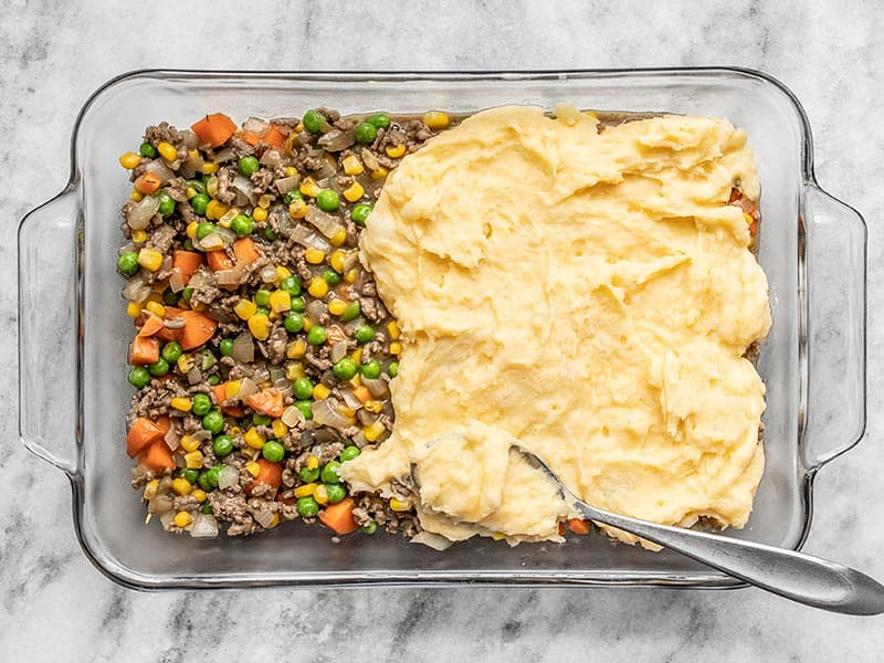Assemble Cheesy Cottage Pie in a 2 quart casserole dish