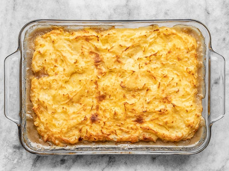Baked Cheesy Cottage Pie in the casserole dish