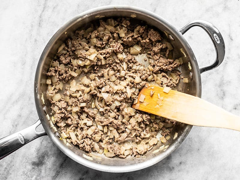 Browned Beef with Onions and Garlic in the Skillet