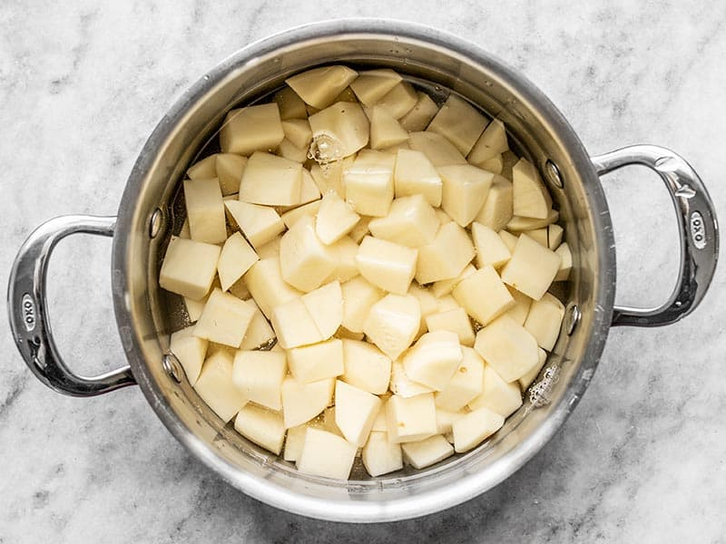 Cubed Potatoes in a stock pot