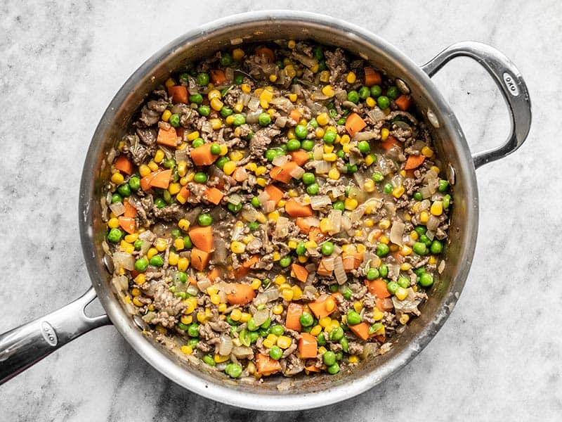 Finished Cottage Pie Filling in the Skillet
