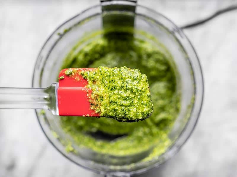 Finished Parsley Pesto close up on a spatula