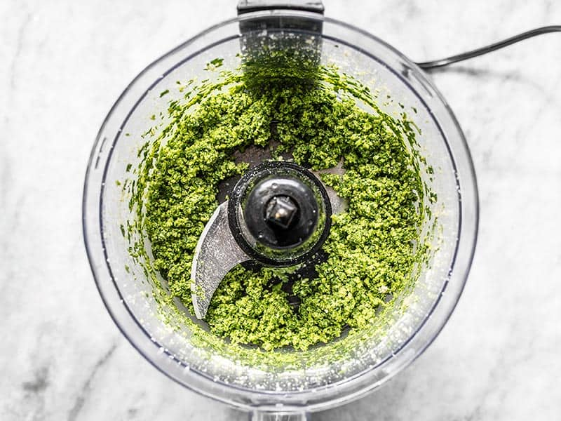 Processed Parsley Pesto with no oil in the food processor
