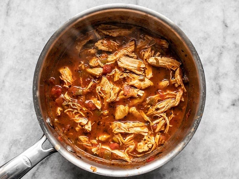 Return Chicken to Salsa in Sauce Pot