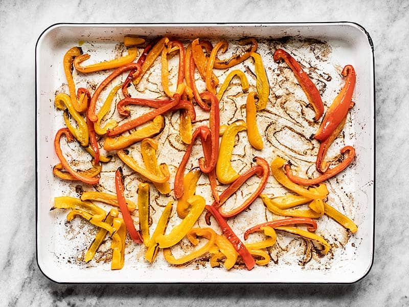 Roasted Bell Peppers on the baking sheet