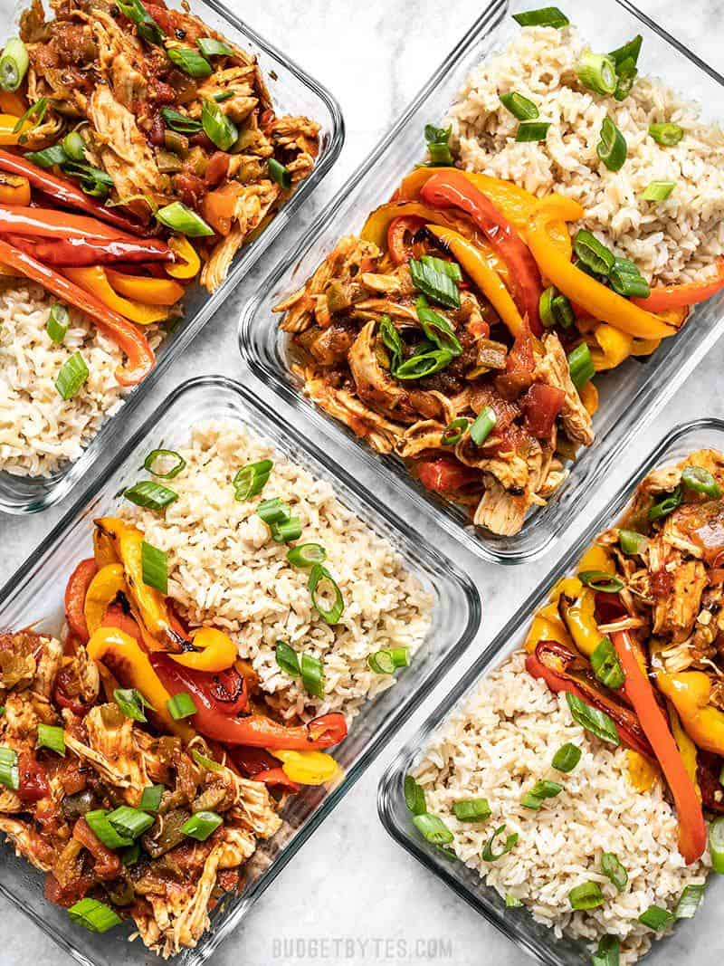 Salsa Chicken Meal Prep Containers from above
