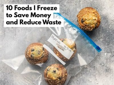 Blueberry muffins in a freezer bag with article title text overlay.