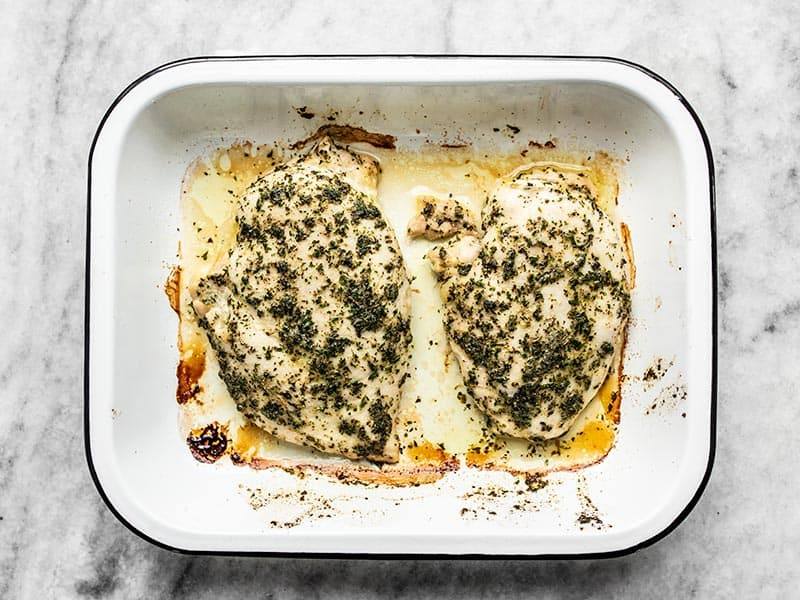 Baked Garlic Herb Chicken Breasts in baking dish