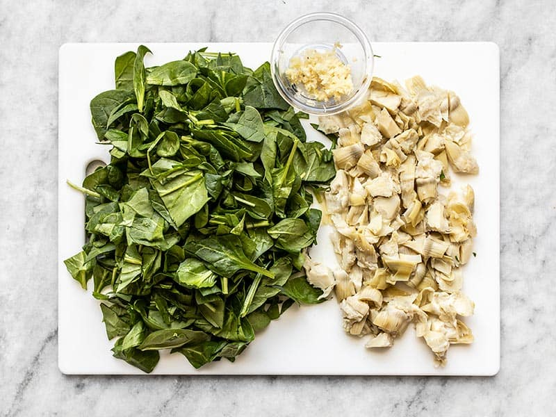 Chopped Spinach, Artichoke Hearts, and minced garlic