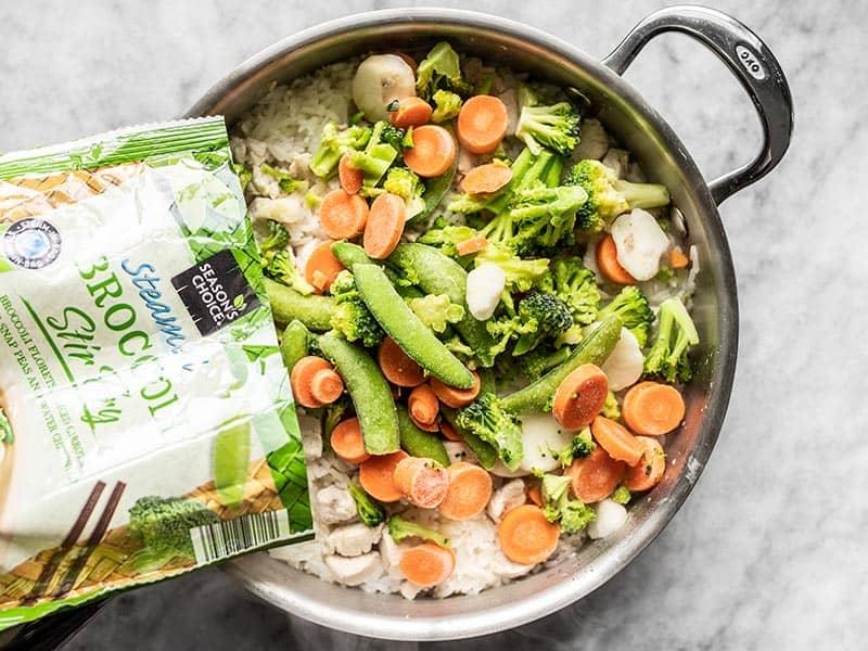 Add Frozen Vegetables to Skillet