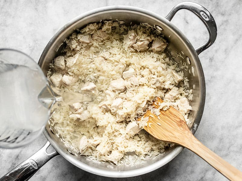 Add Rice and Water to Skillet