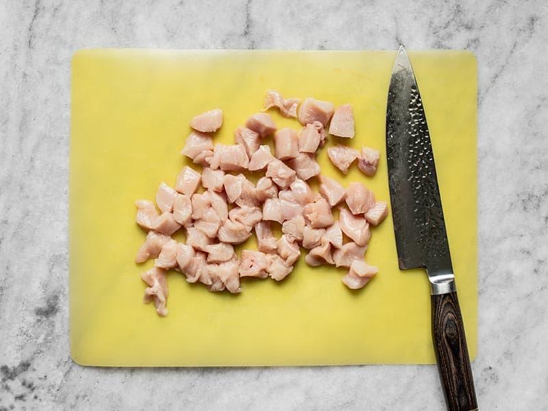 Cubed chicken breast
