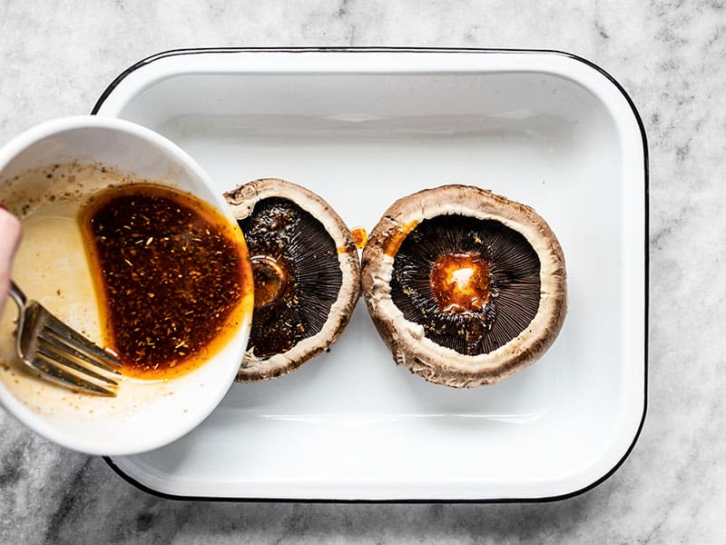 Marinate Portobello Mushrooms in a shallow dish