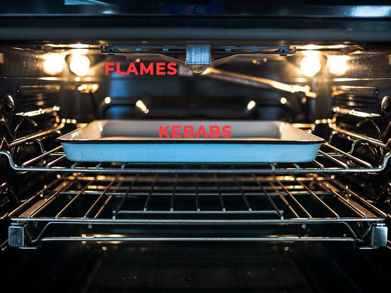 Adjust oven rack under broiler