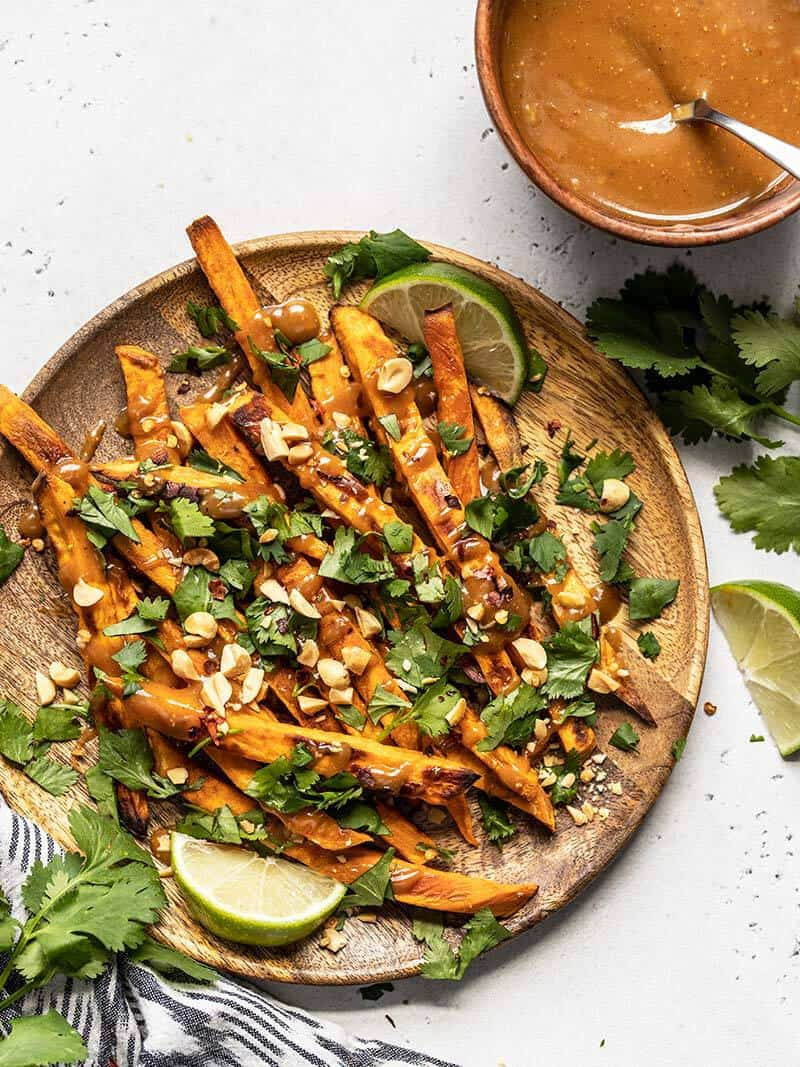 Baked Sweet Potato Fries with Peanut Lime Dressing