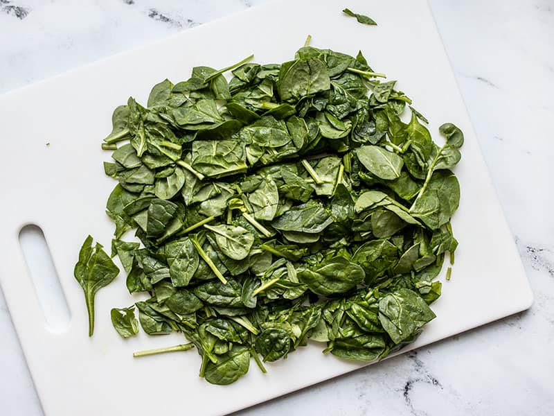 Roughly chopped spinach