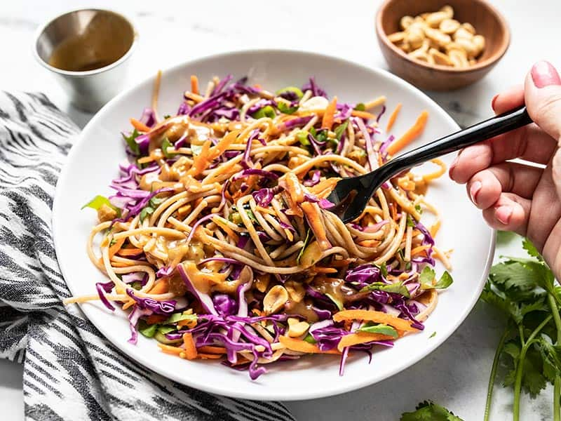 front view of a bowl with cold peanut noodle salad being eaten with a black fork.