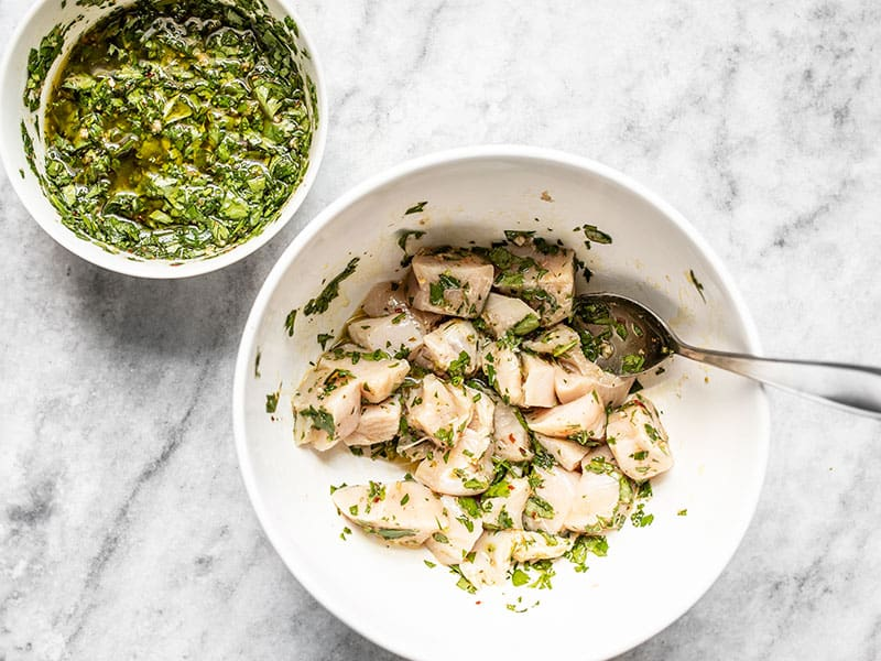 Diced chicken breast coated in chimichurri