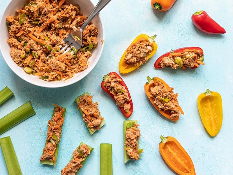 Sweet and Spicy Tuna Salad stuffed mini peppers and celery sticks