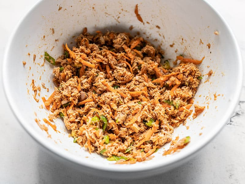 Mixed Sweet and Spicy Tuna Salad in the bowl
