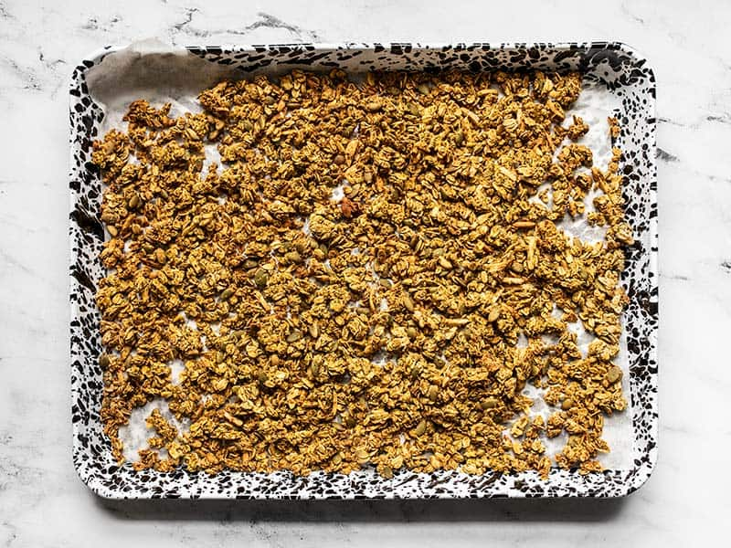 Baked Oil Free Granola on the baking sheet